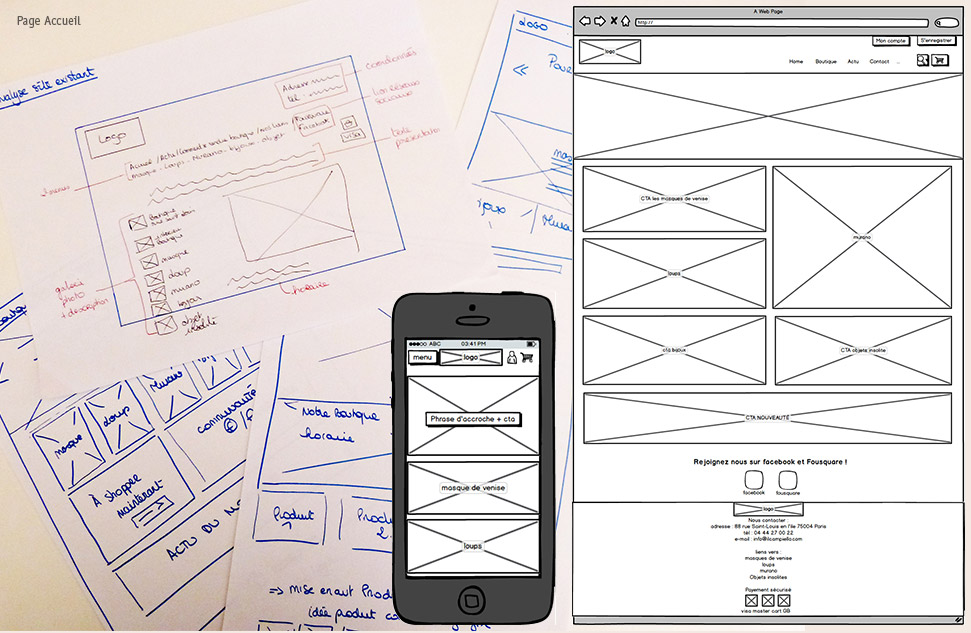 wireframe page accueil